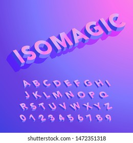 Colorful Isometric Alphabet - ISOMAGIC is an isometric sans serif alphabet with colorful 3D letters. Capital letters and numbers are included.