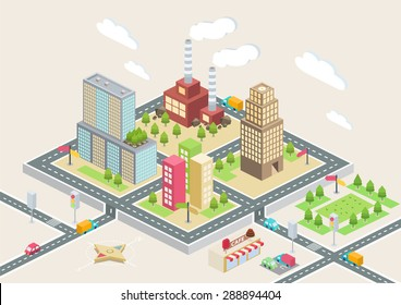 Colorful isometric city, city info graphics