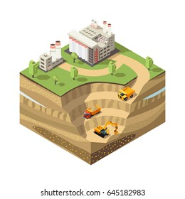Colorful isometric diamond mining concept with extraction area heavy trucks excavator and refinery plant isolated vector illustration