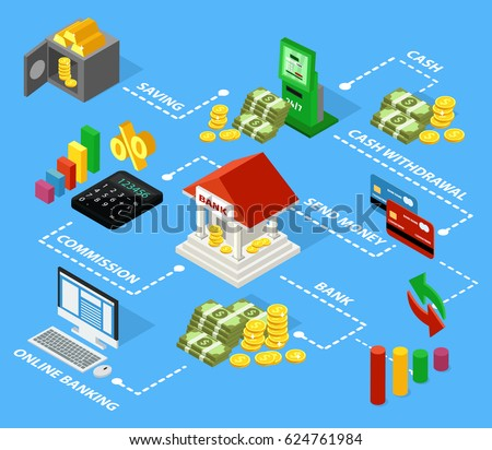 Colorful Isometric Financial Flowchart Concept Money Stock Vector