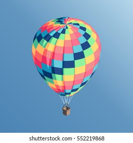Colorful isometric hot air balloon flying in the blue sky vector illustration
