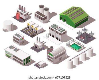 Colorful isometric set with various factory buildings isolated on white background 3d vector illustration