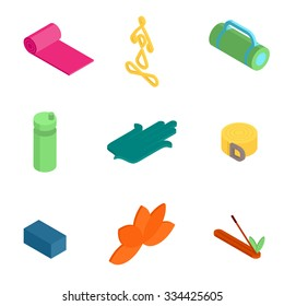 Colorful isometric Yoga icons and badges for spa center or yoga studio on white background.  Vector yoga logo.