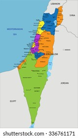 Colorful Israel political map with clearly labeled, separated layers. Vector illustration.