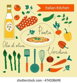 A colorful Italian kitchen set
