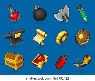 Colorful items collection for game design in cartoon style on blue background isolated vector illustration