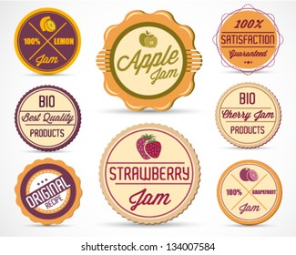Colorful Jam Badges and Labels Vector Illustration