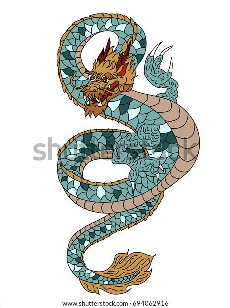 Colorful Japanese Dragon Tattoo Designcartoon Line Stock Vector Royalty Free 694062916