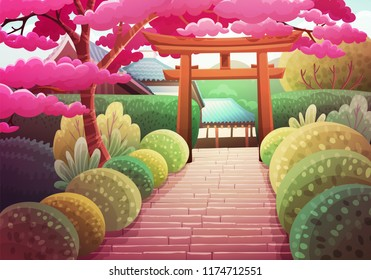 Colorful japanese landscape of stone stairs heading to a shrine through a wooden torii. Garden with bushes and sakura tree. Spring season. Vector illustration.