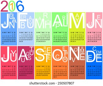 Colorful jazzy 2016 calendar, vector, eps 10