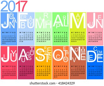 colorful jazzy 2017 calendar, week starting on monday, vector, eps 10