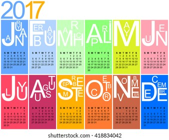 colorful jazzy 2017 calendar, week starting on sunday, vector, eps 10