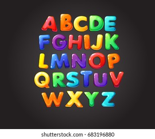 Colorful jelly alphabets for kids. Isolated vector illustration