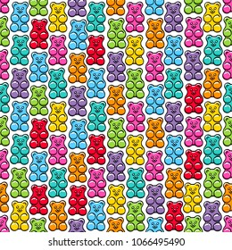 Colorful jelly gummy bears seamless pattern. Sweets background. Hand drawn doodle sketch.