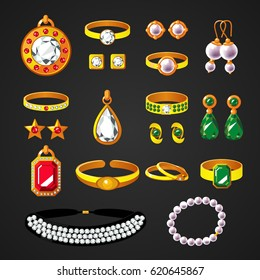Colorful jewelry accessories icons set of rings earrings bracelets necklaces with different gems isolated vector illustration