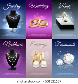 Colorful jewelry realistic banners with necklaces rings earrings diamonds bokeh and light effects isolated vector illustration