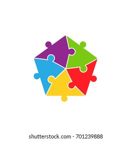 Colorful jigsaw puzzle parts pieces background vector