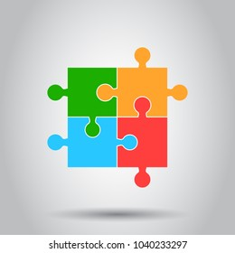 Colorful jigsaw puzzle vector. Flat illustration. Puzzle game. Simple business concept pictogram.