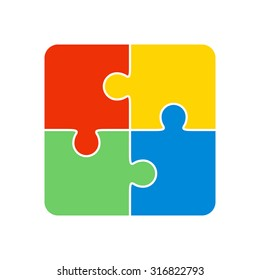 Colorful Jigsaw Puzzle Vector Four Pieces Isolated
