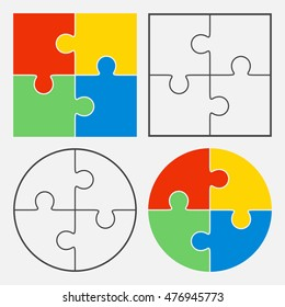 Colorful jigsaw puzzle vector, four pieces