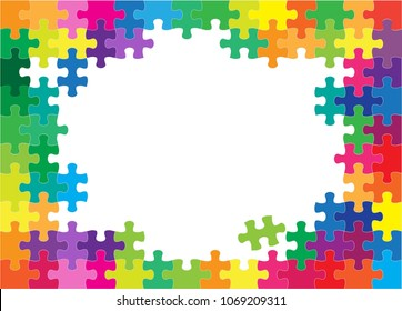 Colorful jigsaw puzzles and blank white center background vector illustration