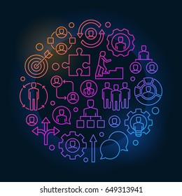 Colorful job and career illustration. Career development concept symbol made with outline icons on dark blue background