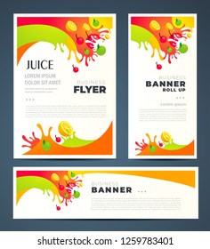 Colorful Juce fruit drops theme Set flyer cover, banner, roll up banner