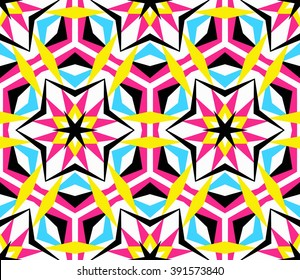 Colorful kaleidoscope seamless pattern. Decorative round ornament. Geometric design element. Rainbow wallpaper, fabric, paper, furniture print. Abstract vector flower or star. Psychedelic style.