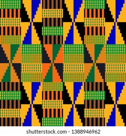 Colorful Kente pattern. Seamless repeating geometric print inspired by African art. Ethnic textile collection. Green, brown.