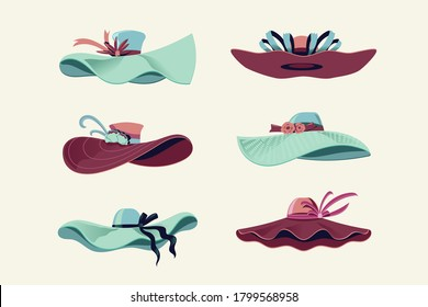 Colorful Kentucky Derby Hats Set Vector Illustration