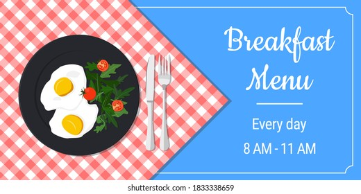 Colorful keto dish vector banner template on a checkered tablecloth. Advertisement, card. EPS 10