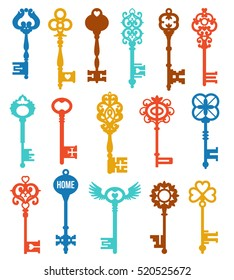 Colorful keys set of different shape ornament and secrecy in vintage style isolated vector illustration