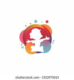 Colorful Kid Playing logo vector, Children' logo design template, logo design concept, logotype template