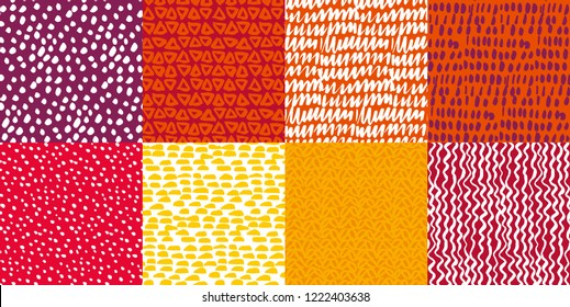 Colorful kiddy background set. Naive hand drawn doodle seamless pattern. Brush stroke simple shapes repeatable motif.