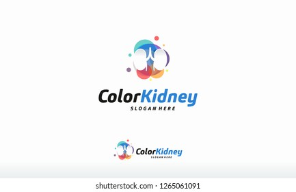Colorful Kidney Care logo designs concept vector, Health Kidney logo template designs