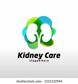 Colorful Kidney Logo Design Concept. Urology Logo Vector Template - Vector