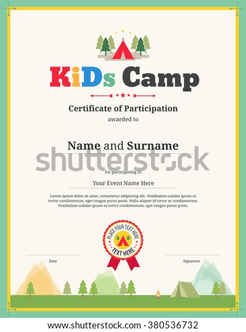 Colorful Kids Certificate Template Portrait Children Stock ...
