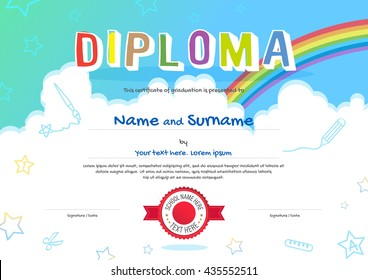 Colorful kids diploma certificate template in cartoon style with sky rainbow and kids elements in the background