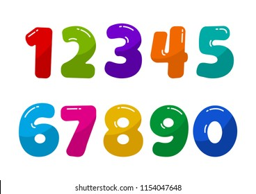 Colorful kids font numbers from 1 to 0. Vector illustration