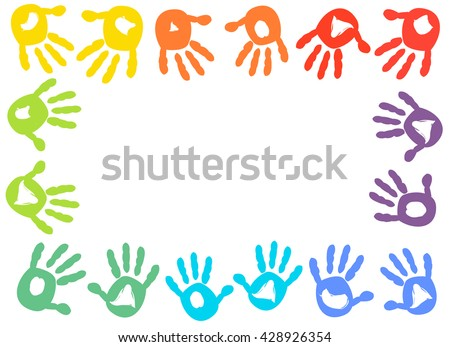 Colorful Kids Handprint Frame Vector Background Stock Vector ...
