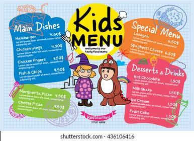 Colorful kids meal menu vector template illustration for restaurant