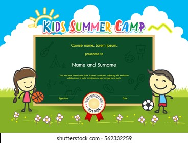Colorful kids summer camp diploma certificate template in cartoon style with boy girl sun and sky