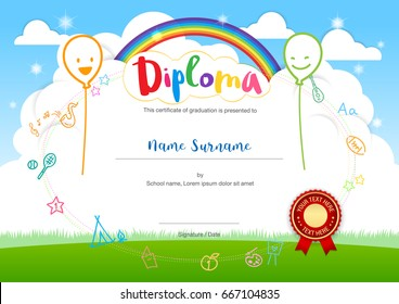 Colorful kids summer camp diploma certificate template in cartoon style with smiling balloon rainbow and sky