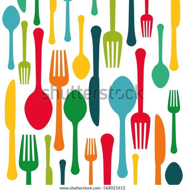 Colorful Kitchen Utensils Background Icon Image Stock Vector ...