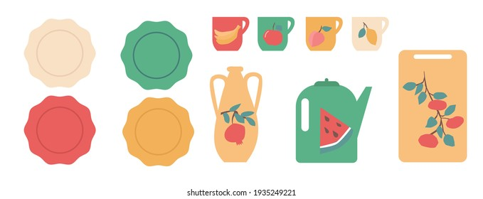 Colorful kitchen ware decorated with fruites set vector illustration.