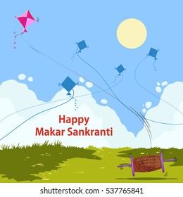 Colorful kite flying for Happy Makar Sankranti in vector