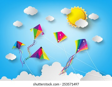 Colorful kite flying on the sky.paper art style