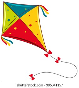 Colorful kite on white background illustration