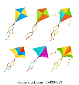 Colorful Kite Set on White Background. Vector illustration