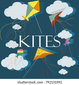 Colorful kites and clouds in the night sky. Summer background. Vector illustration.